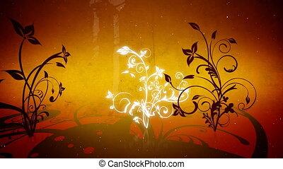 vecteur, fleurs, 4, boucle