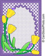vecteur, fleurs, ovale, frontière
