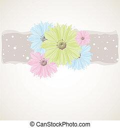vecteur, fleurs, printemps, coloré