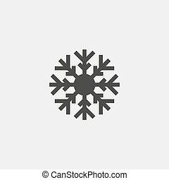 vecteur, flocon de neige, noir, color., icône, eps10, illustration
