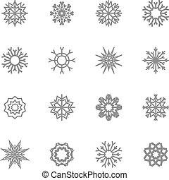 vecteur, flocons neige, theme., noël, hiver, set., illustration., eps10.