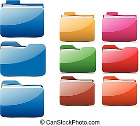 vecteur, folder., illustration.
