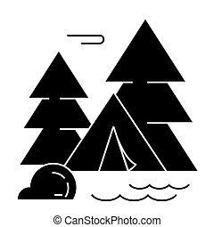 vecteur, fond, camping, icône, isolé, forêt, tente, signe, illustration