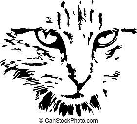 vecteur, fond, chat, blanc