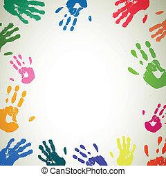 vecteur, fond, coloré, handprints
