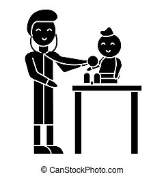 vecteur, fond, enfant, icône, isolé, pédiatre, signe, illustration
