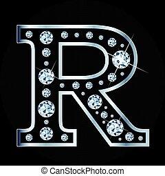 vecteur, fond, isolé, r, noir, lettre, diamants, fait