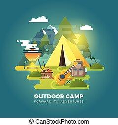 vecteur, fond, touriste, camper tente