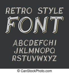 vecteur, font., étiquette, style., retro, vendange