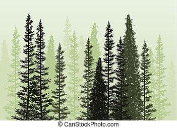 vecteur, forêt, fond