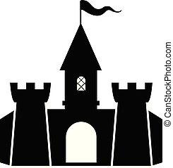 vecteur, forteresse, icône