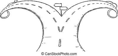 vecteur, fourchette, dessin, illustration, ou, carrefour, choisir, route, direction, conceptuel, décider, sur, destin