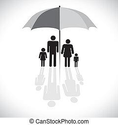 vecteur, four(father, concept, parapluie, reflet, famille, &, graphic-, parasol, fils, graphique, mère, daughter), icon., protection(insurance), symbole., spectacles