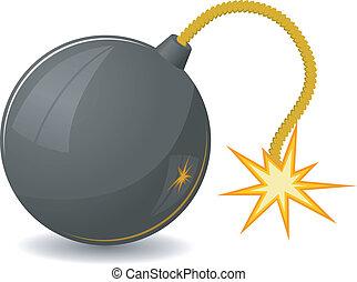vecteur, fusible, bombe, rond, illustration