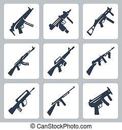 vecteur, fusils, icônes, machine, assaut, ensemble, fusils