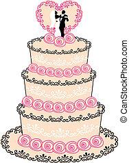 vecteur, gâteau, mariage