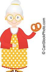 vecteur, gâteaux, main, dessin animé, grand-maman