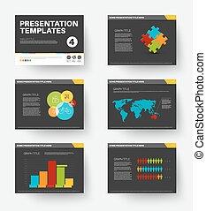 vecteur, gabarit, diapositives, présentation, 4