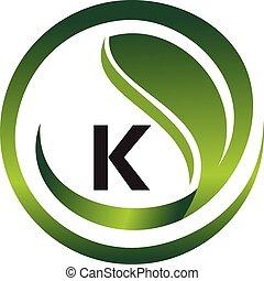vecteur, gabarit, logo, conception, initiale, k, feuille