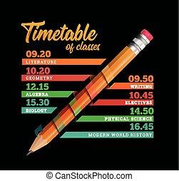 vecteur, gabarit, ou, conception, horaire, timeline, illustration, crayon