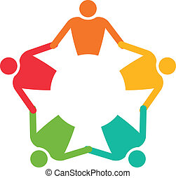 vecteur, gens, 5., collaboration, tenue, cercle, hands., icône