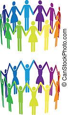 vecteur, gens, coloré, cercle