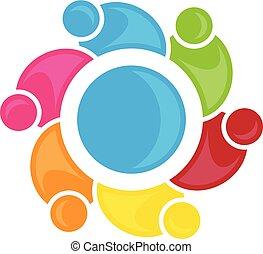 vecteur, gens, concept, communauté, coloré, conception