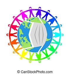 vecteur, gens, illustration, mondiale, masques, autour de, monde médical