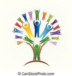vecteur, gens, logo, arbre, collaboration