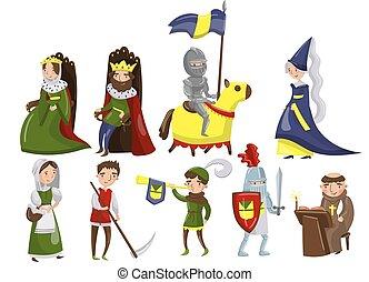vecteur, gens, période, ensemble, historique, moyen-âge, milieu, illustrations, caractères, âges