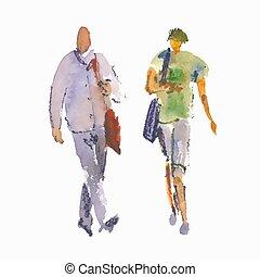vecteur, gens., stylisé, croquis, illustration, aquarelle