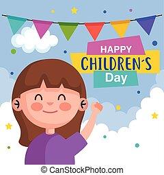 vecteur, girl, childrens, dessin animé, conception, heureux, jour