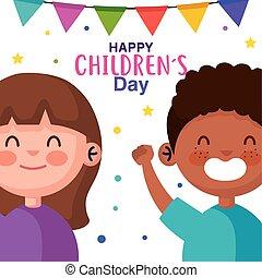 vecteur, girl, childrens, garçon, conception, heureux, jour, dessins animés