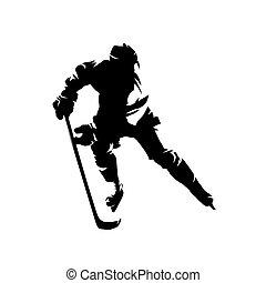 vecteur, glace, dessin, hockey, isolé, joueur, encre, silhouette
