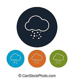 vecteur, grêle, icône, nuage, illustration
