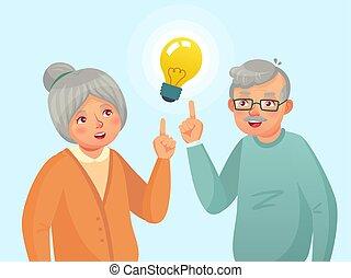 vecteur, grand-mère, gens, issue., pensée, avoir, idea., vieux, aînés, personnes agées, dessin animé, grand-père, couples aînés, illustration, idée