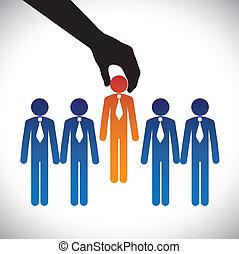 vecteur, graphique, concept, techniques, graphic-, compagnie, concourir, même, choix, candidate., personne, métier, droit, candidats, beaucoup, confection, hiring(selecting), poste, mieux, spectacles