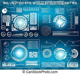 vecteur, graphique, hud., résumé, virtuel, toucher, concept, avenir, interface utilisateur, futuriste