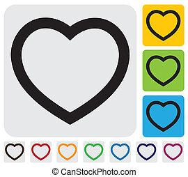 vecteur, graphique, simple, icon(symbol), outline-, humain, heart(love)