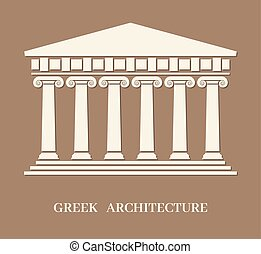 vecteur, grec, ancien, architecture, colonnes