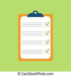 vecteur, green., illustration, cahier, liste, chèque, isolé