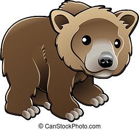 vecteur, grisonnant, ours brun, mignon, illustration