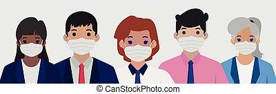 vecteur, groupe, -, stérile, monde médical, gens, masques