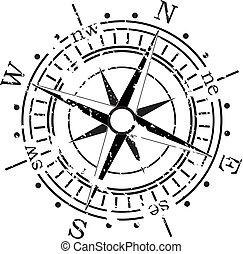vecteur, grunge, compas