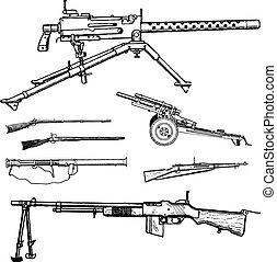 vecteur, guerre, fusils