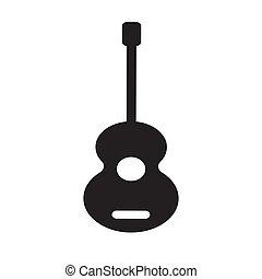 vecteur, guitare, solide, icône, style