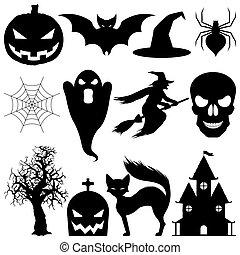vecteur, halloween, elements.
