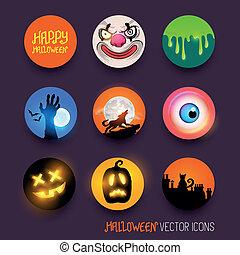 vecteur, halloween, icônes