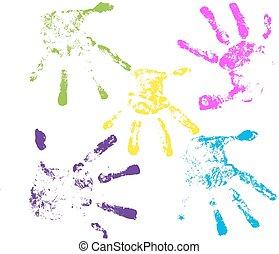 vecteur, handprints