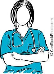 vecteur, haut, illustration, docteur, femme, fin